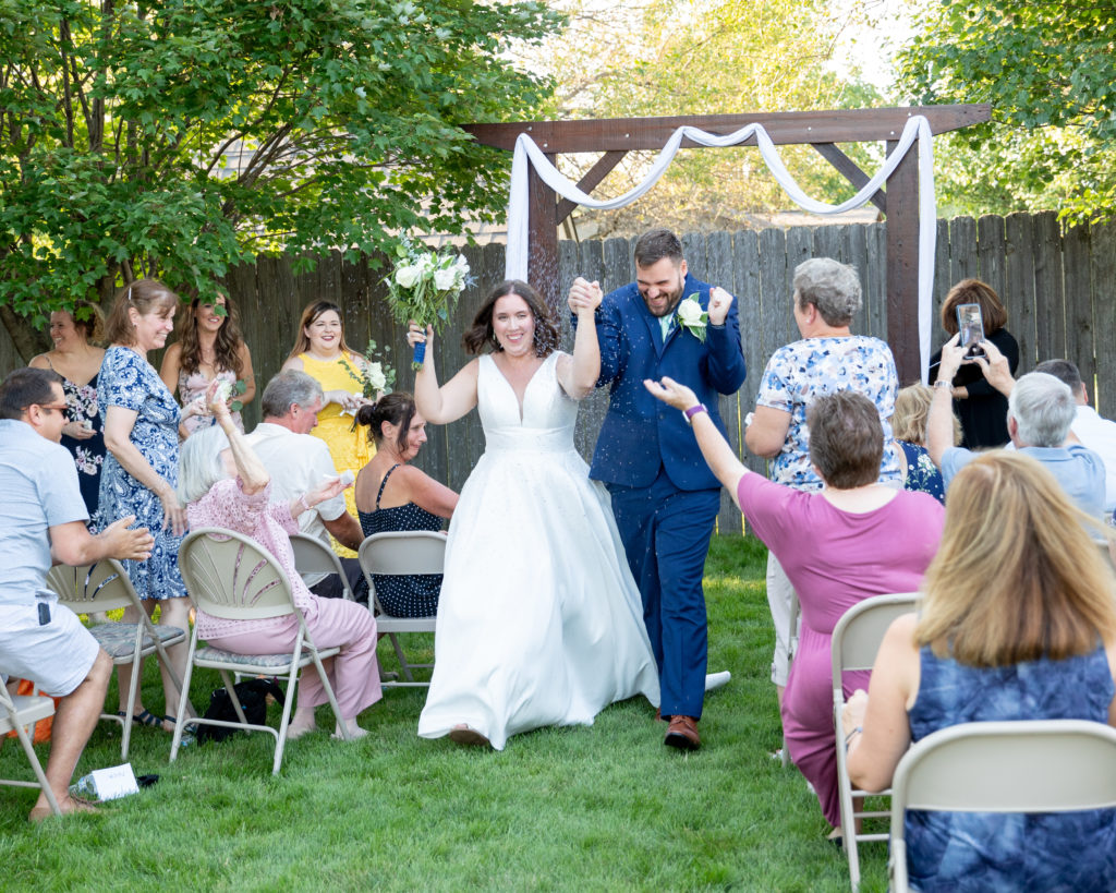 Just Pronounced Mr. and Mrs. followed by Lavender Confetti Throw